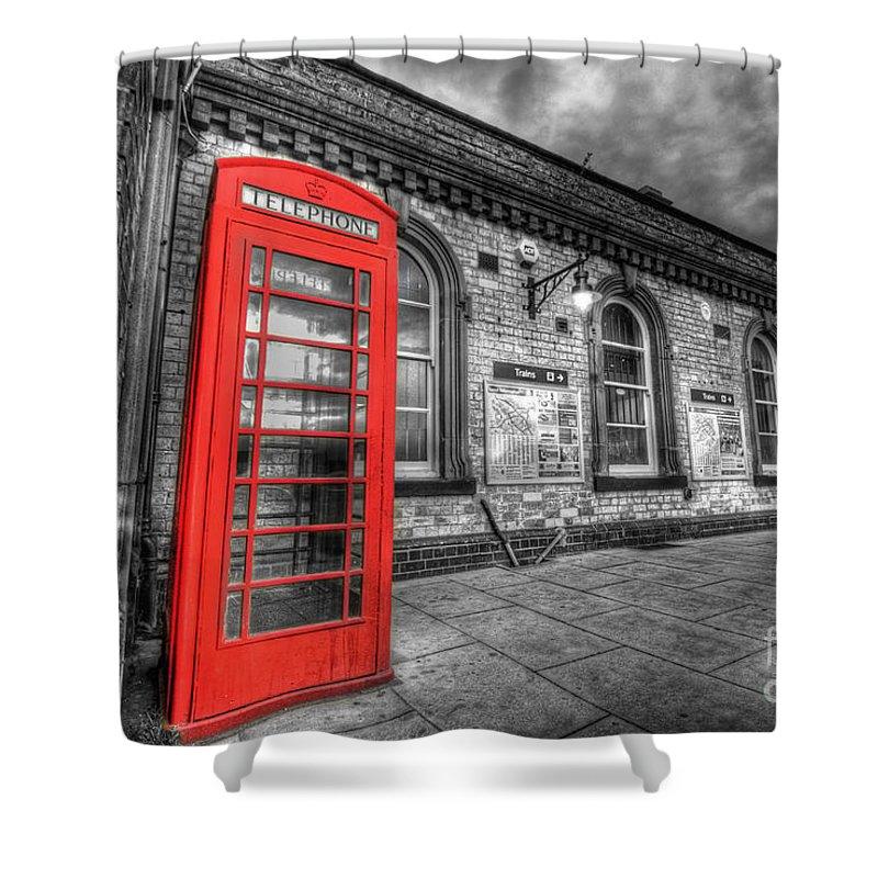 Yhun Suarez Shower Curtain featuring the photograph Red Phone Box by Yhun Suarez