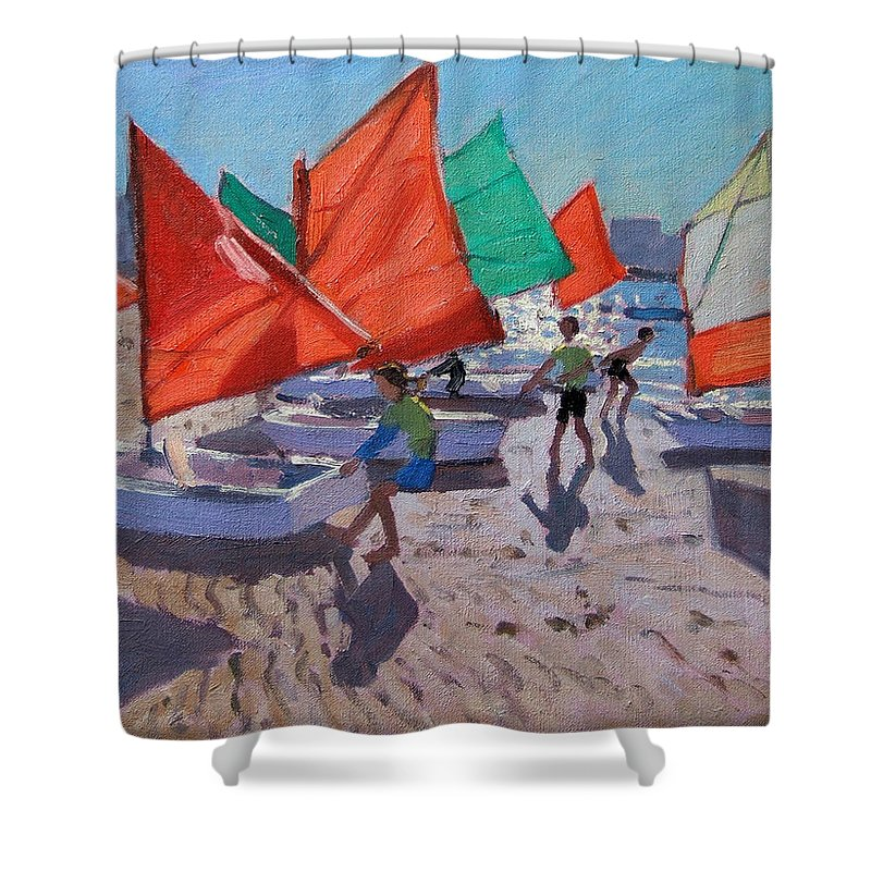 Red Sails Shower Curtain featuring the painting Red Sails by Andrew Macara