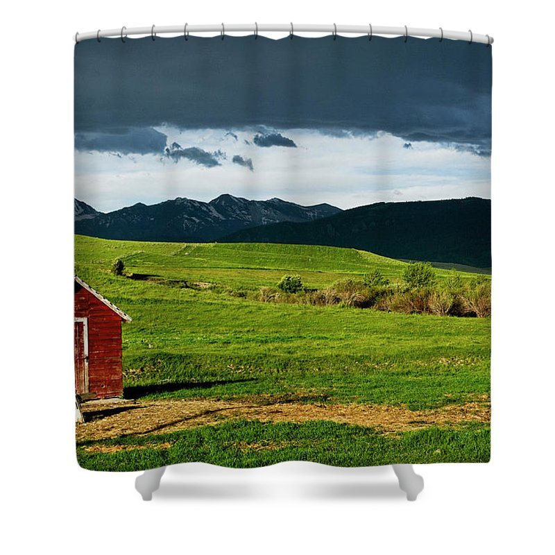 Americas Shower Curtain featuring the photograph Red Shed by Roderick Bley