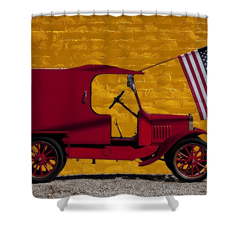 Red Shower Curtain Featuring The Photograph Truck Against Yellow Wall By Garry Gay