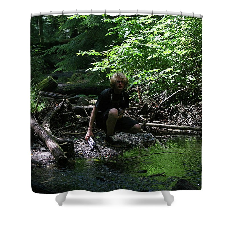 Forest Pond Shower Curtain featuring the photograph Reflected In Green by Lorraine Devon Wilke