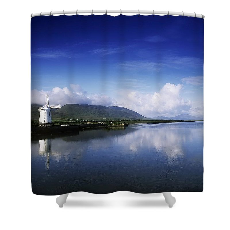Alternative Energy Shower Curtain featuring the photograph Reflection Of A Traditional Windmill In by The Irish Image Collection