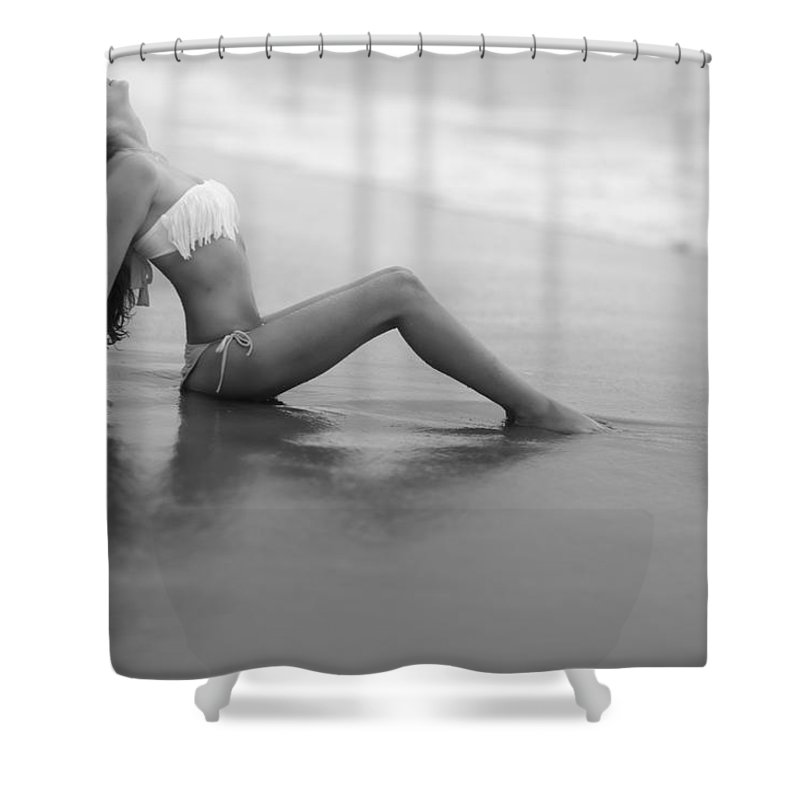 Female Shower Curtain featuring the photograph Reflections In Wet Sand by Rick Berk