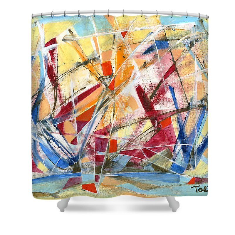 Abstract Art Shower Curtain featuring the painting Refracted Dream by Lynne Taetzsch
