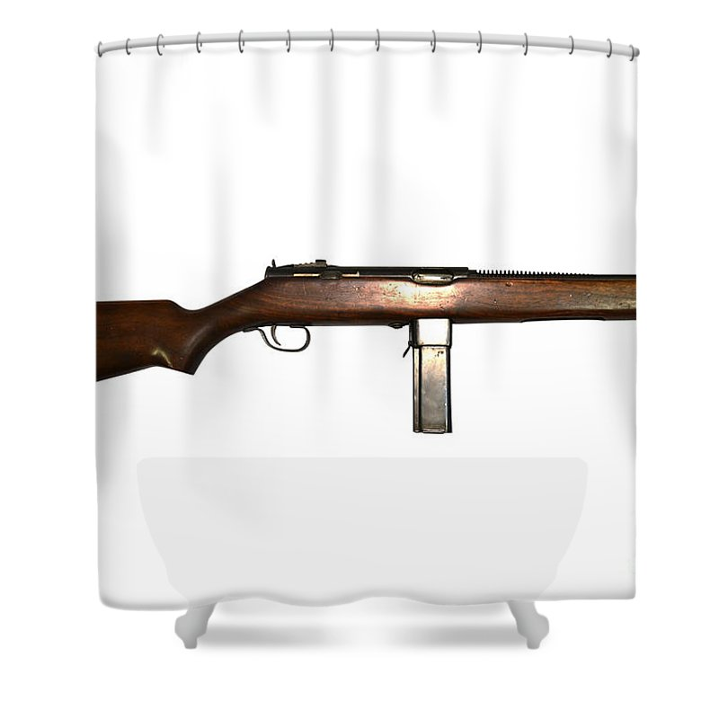 Single Object Shower Curtain Featuring The Photograph Reising M50 Submachine Gun By Andrew Chittock