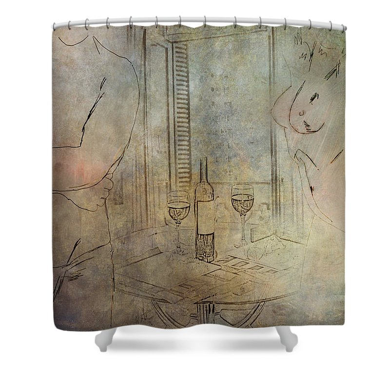 Nude Shower Curtain featuring the digital art Relationship by Diane Dugas