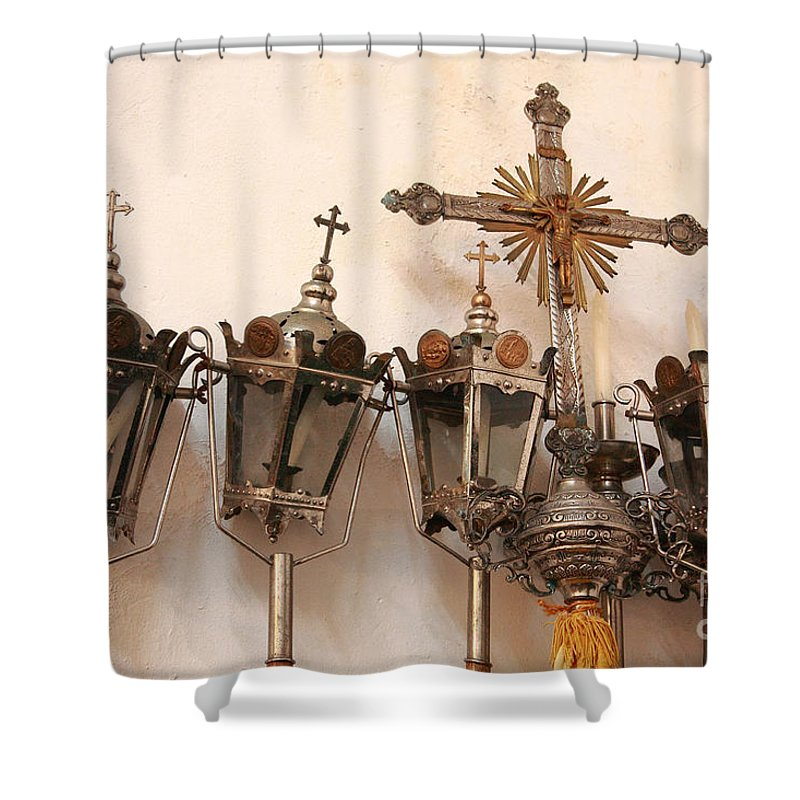 Lanterns Shower Curtain featuring the photograph Religious Artifacts by Gaspar Avila