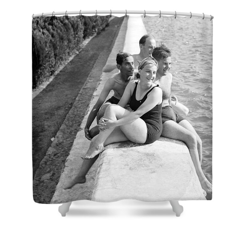 Solomon's Pools Shower Curtain featuring the photograph Rest Time 1946 by Munir Alawi
