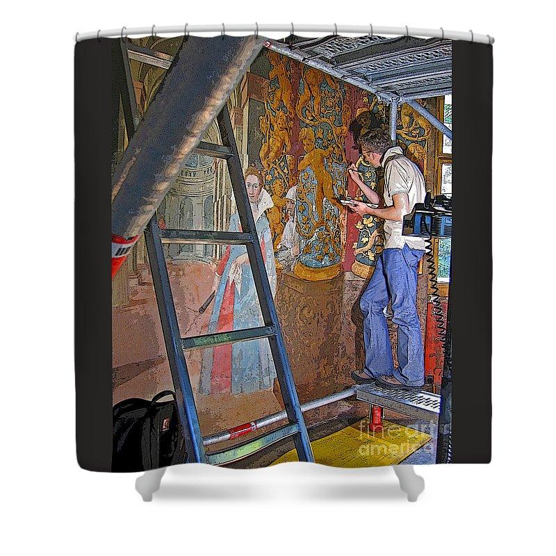 Artist Shower Curtain featuring the photograph Restoring Art by Ann Horn