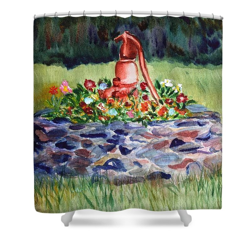Water Shower Curtain featuring the painting Retired Water Pump by Donna Walsh