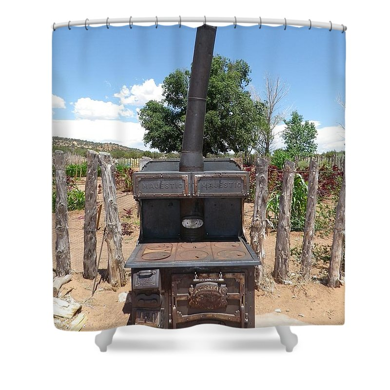 Wood Burning Stove Shower Curtain featuring the photograph Retired Wood Burning Stove by Jonathan Barnes