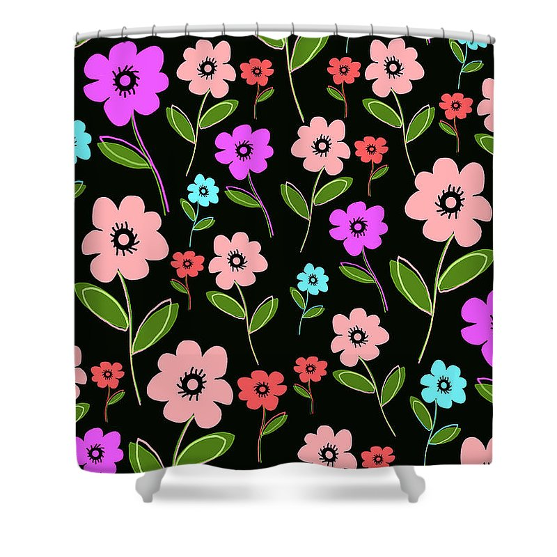 Louisa Shower Curtain featuring the digital art Retro Florals by Louisa Knight