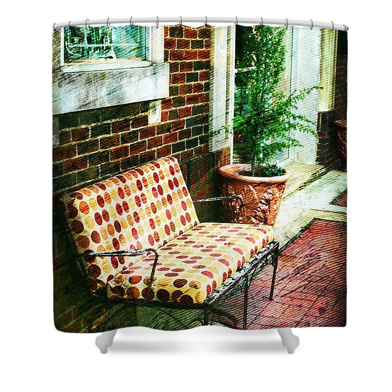 Retro Shower Curtain featuring the photograph Retro Grunge Sidewalk Bench Seat by Kathy Clark