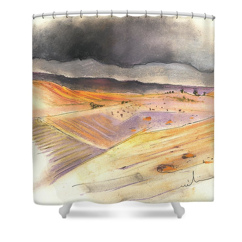Spain Shower Curtain featuring the painting Ribera Del Duero In Spain 08 by Miki De Goodaboom
