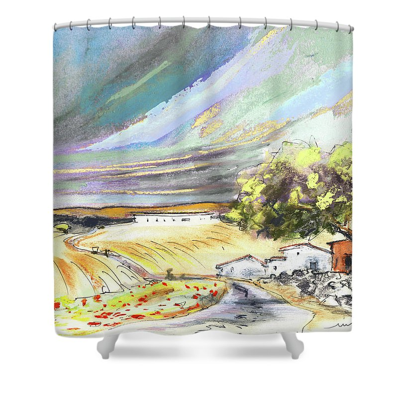 Spain Shower Curtain featuring the painting Ribera Del Duero In Spain 13 by Miki De Goodaboom