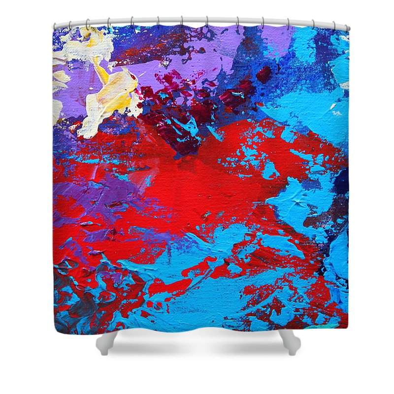 Abstract Shower Curtain featuring the painting Ride The Red Horse by M Diane Bonaparte