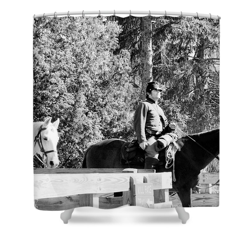 Usa Shower Curtain featuring the photograph Riding Soldiers B And W II by LeeAnn McLaneGoetz McLaneGoetzStudioLLCcom