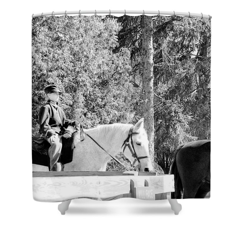 Usa Shower Curtain featuring the photograph Riding Soldiers B And W IIi by LeeAnn McLaneGoetz McLaneGoetzStudioLLCcom