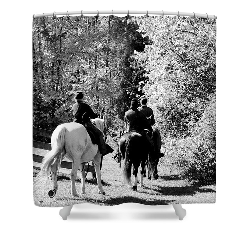 Usa Shower Curtain featuring the photograph Riding Soldiers B And W by LeeAnn McLaneGoetz McLaneGoetzStudioLLCcom