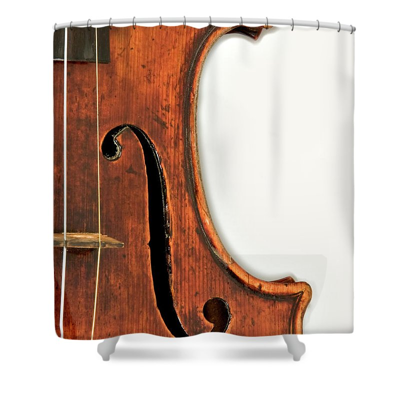 Strad Shower Curtain featuring the photograph Right F by Endre Balogh