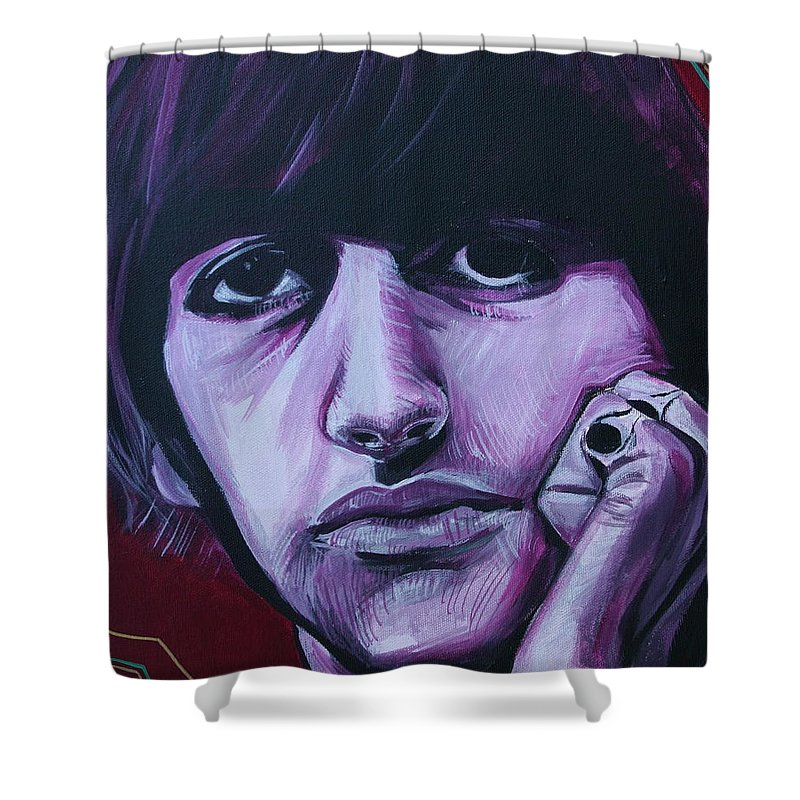Beatles Shower Curtain featuring the painting Ringo Star by Kate Fortin