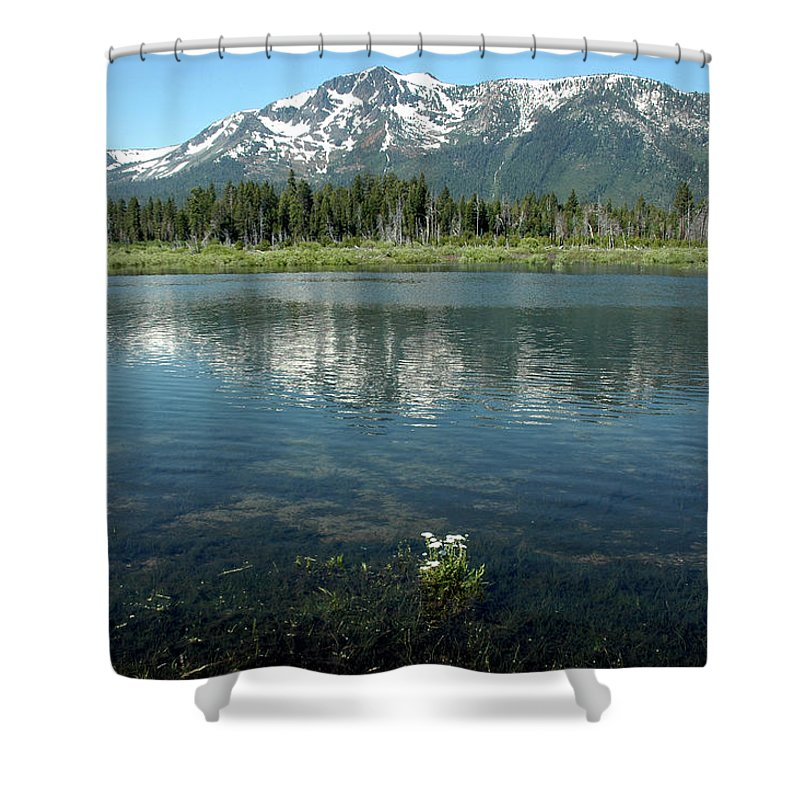 Usa Shower Curtain featuring the photograph Ripples On Lake Of Mt Tallac by LeeAnn McLaneGoetz McLaneGoetzStudioLLCcom