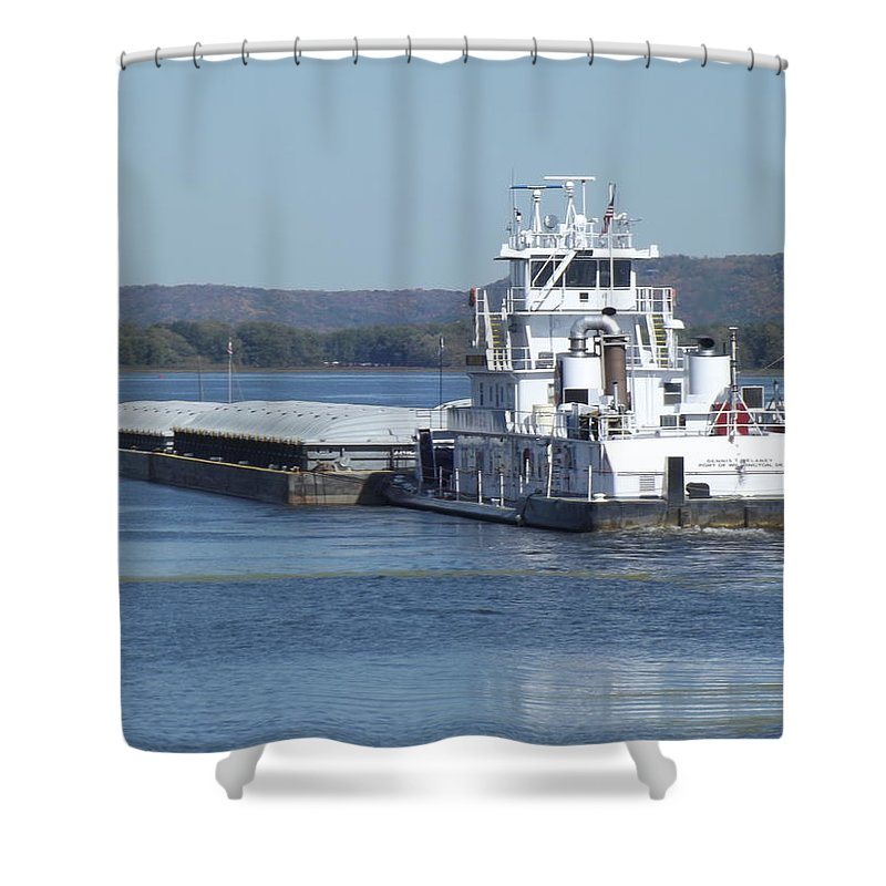 Mississippi River Shower Curtain featuring the photograph River Barge by Bonfire Photography