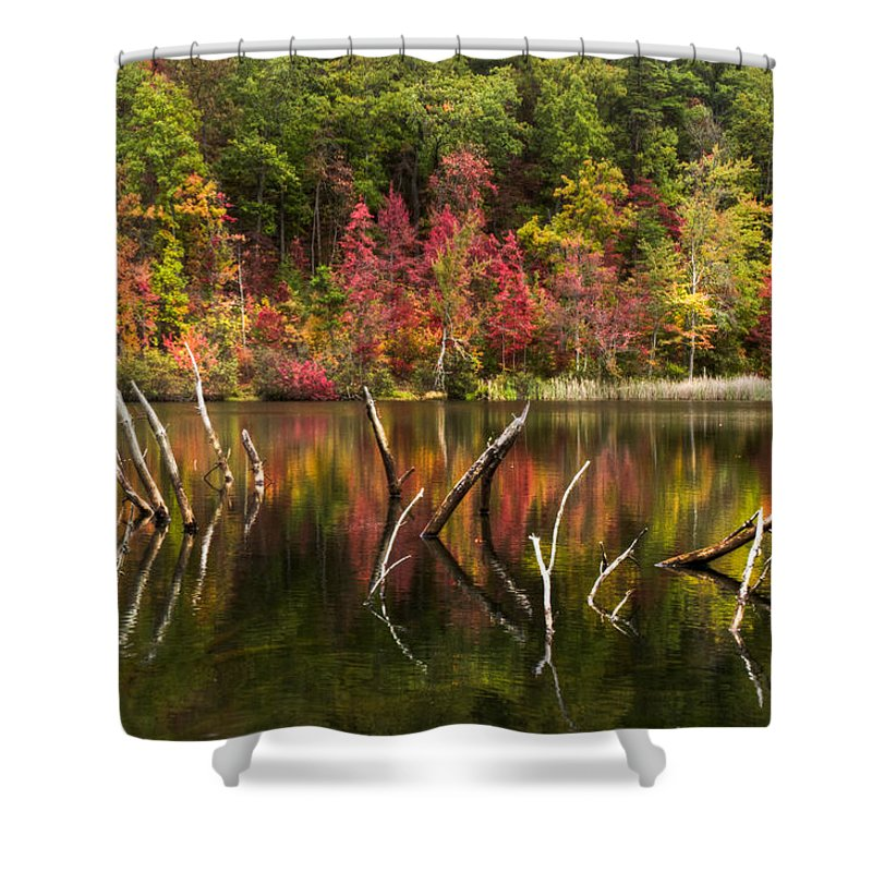 Appalachia Shower Curtain featuring the photograph River Ghosts by Debra and Dave Vanderlaan