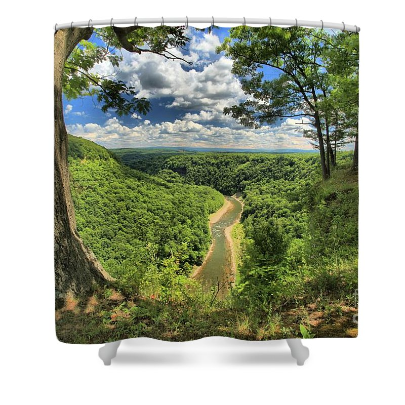 Letchworth State Park Shower Curtain featuring the photograph River In The Valley by Adam Jewell