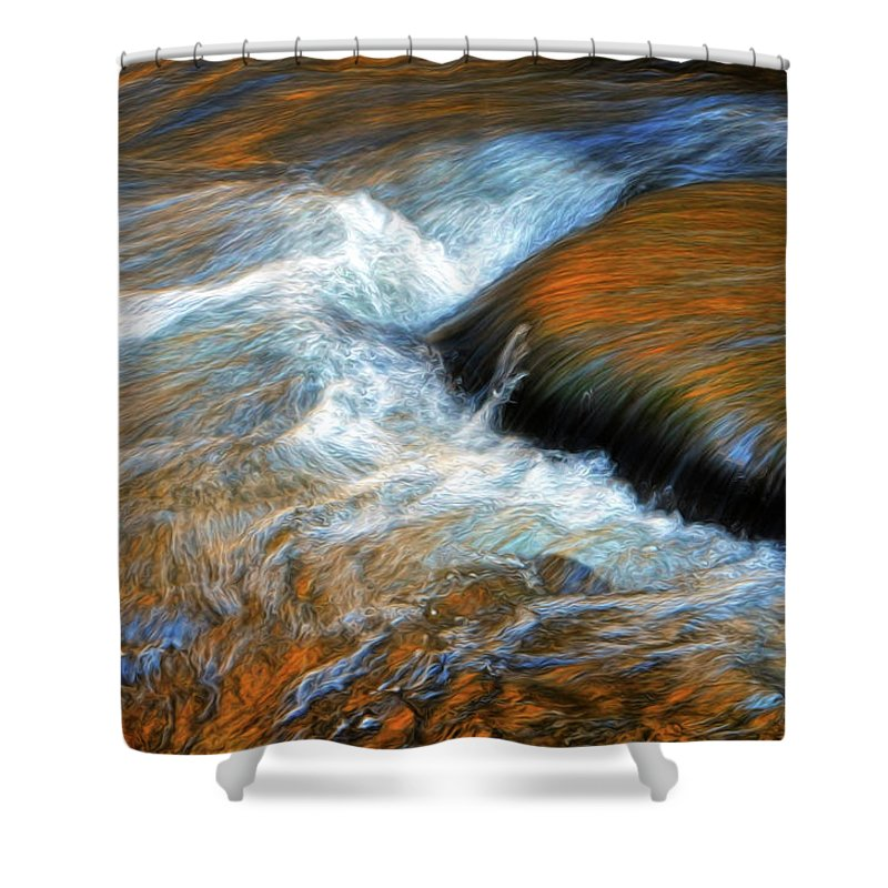 River Shower Curtain featuring the photograph River Of Fire by Dave Mills