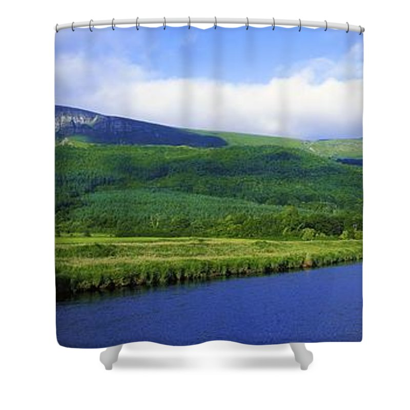 Calm Shower Curtain featuring the photograph River Roe, Binevenagh, Co Derry by The Irish Image Collection