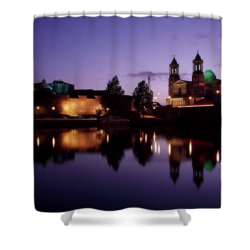 Attraction Shower Curtain featuring the photograph River Shannon, Athlone, County by Richard Cummins