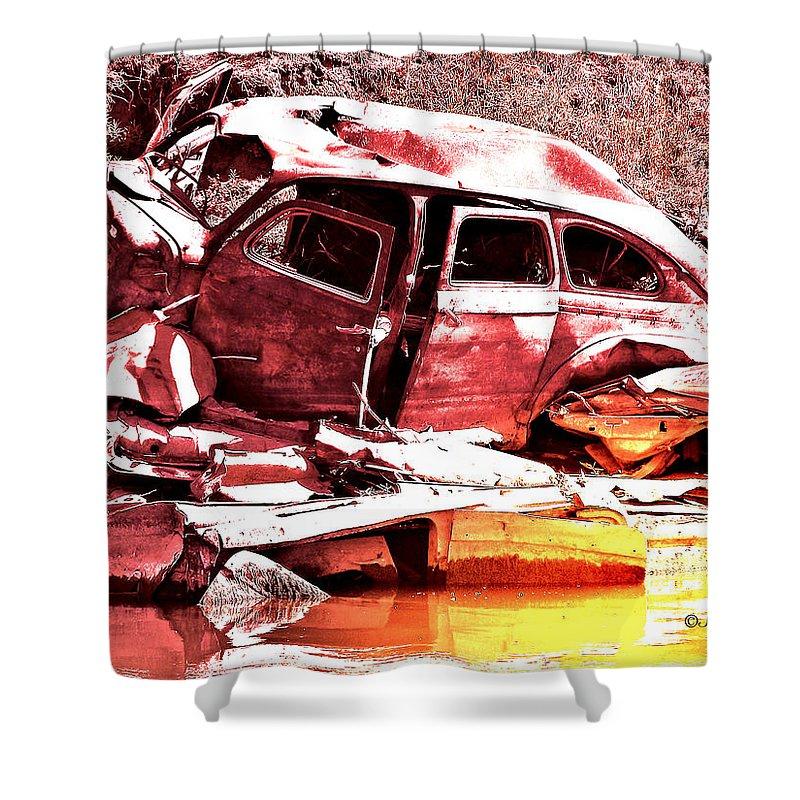 Junk Car Shower Curtain featuring the digital art River Wreck Ver2 by Susan Kinney