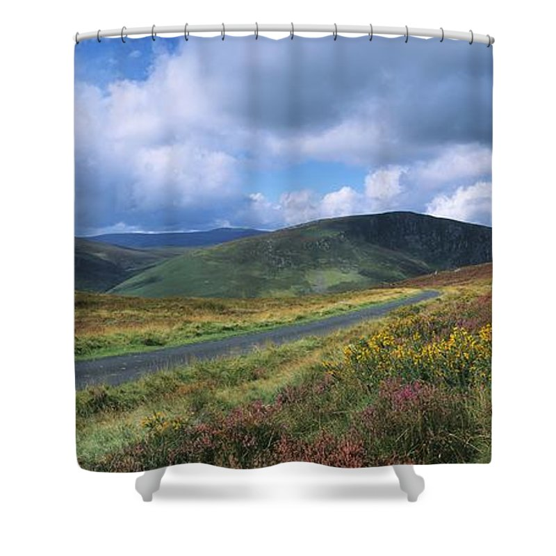 Co Wicklow Shower Curtain featuring the photograph Road Through A Mountain Range, County by The Irish Image Collection