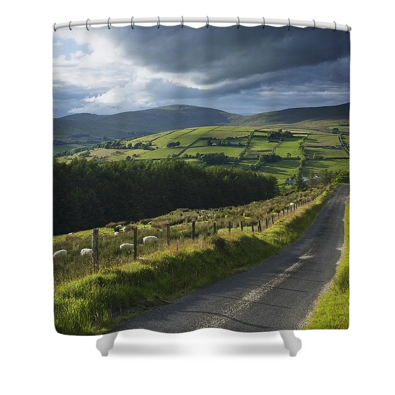 Mountain Shower Curtain featuring the photograph Road Through Glenelly Valley, County by Gareth McCormack
