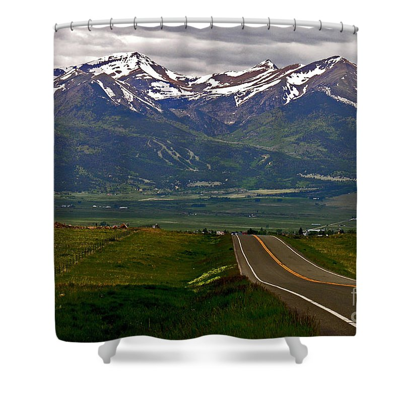 Green Shower Curtain featuring the photograph Road To The Sangre De Cristos by Peggy Starks