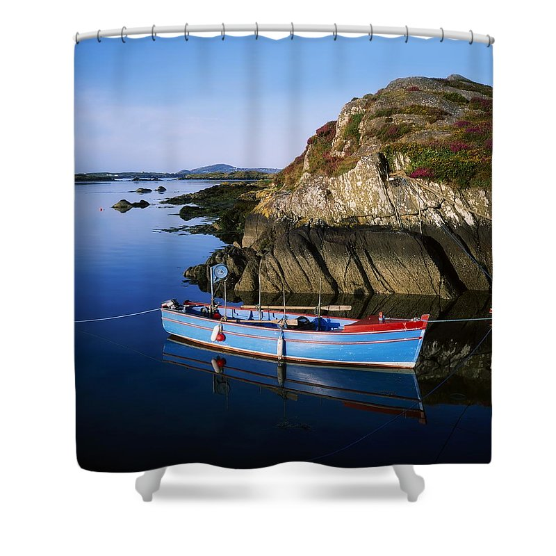 Blue Sky Shower Curtain featuring the photograph Roaringwater Bay, Co Cork, Ireland Boat by The Irish Image Collection