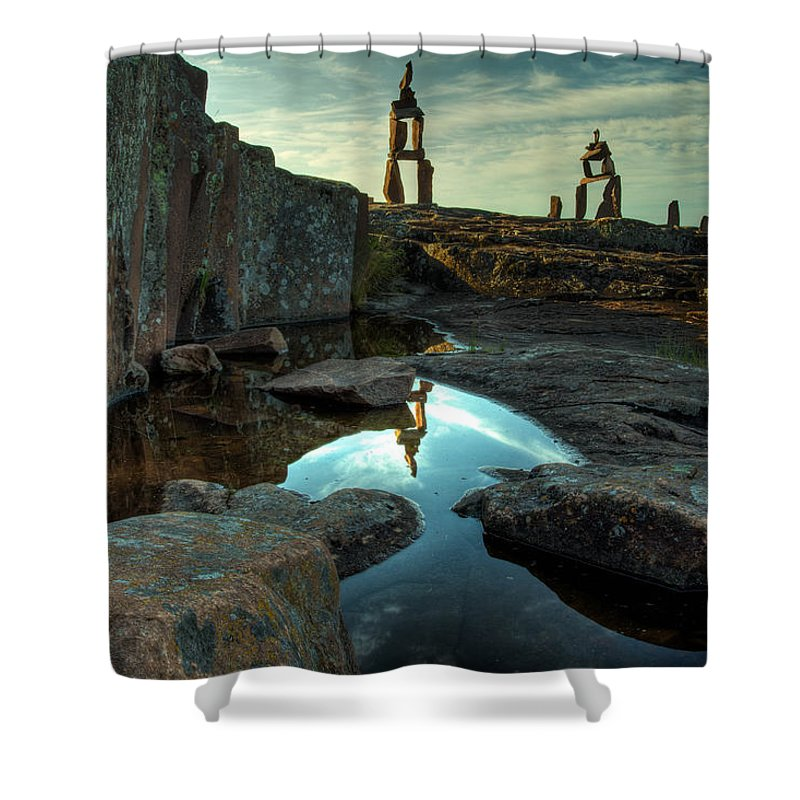 Blue Hour Shower Curtain featuring the photograph Rock Balancing Grand Marais by Jakub Sisak