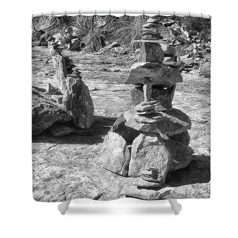 Rock Cairns Shower Curtain For Sale By Dominic Piperata