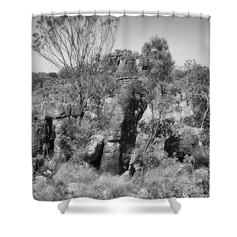 Rock Formations Shower Curtain featuring the photograph Rock Formations by Douglas Barnard