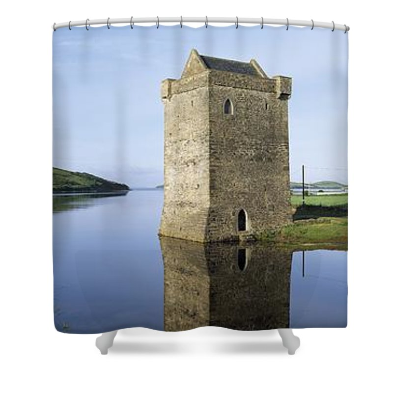 Clew Bay Shower Curtain featuring the photograph Rockfleet Castle On Clew Bay, County by The Irish Image Collection