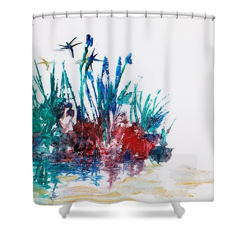 Rocks Shower Curtain featuring the painting Rockpool by Angelina Whittaker Cook