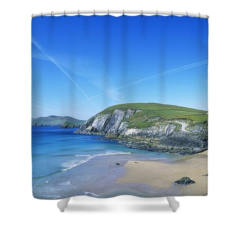 Blasket Islands Shower Curtain featuring the photograph Rocks On The Beach, Coumeenoole Beach by The Irish Image Collection