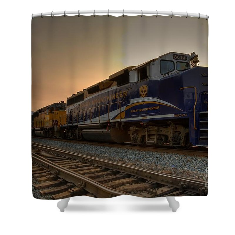 Banff Shower Curtain featuring the photograph Rocky Mountaineer Halo by James Anderson