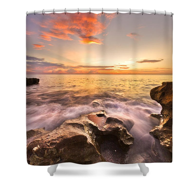 A1a Shower Curtain featuring the photograph Rocky Surf by Debra and Dave Vanderlaan