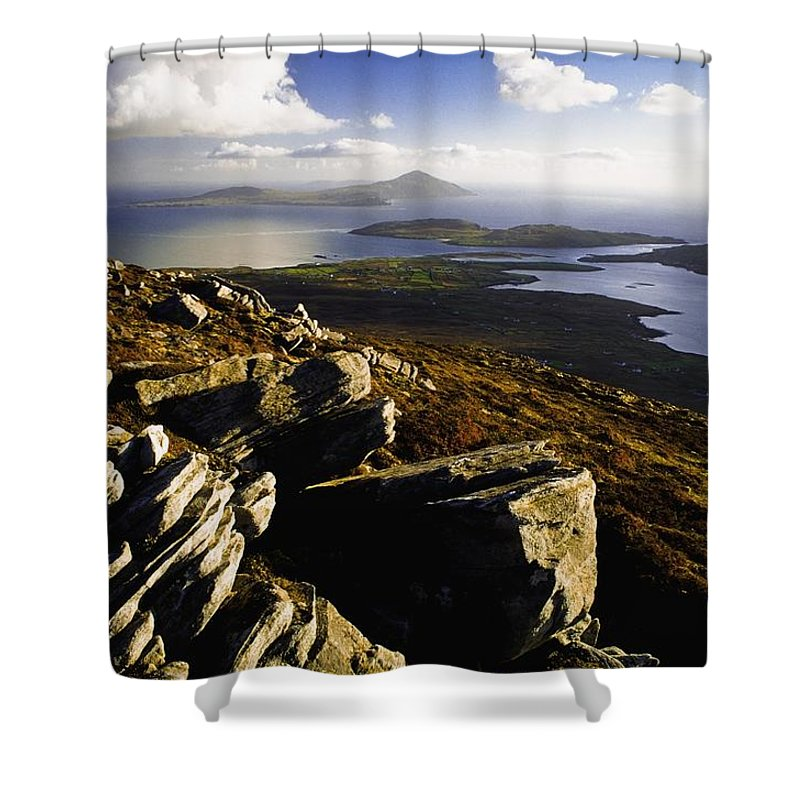 Vista Shower Curtain featuring the photograph Rocky Vista Of Shoreline by Gareth McCormack