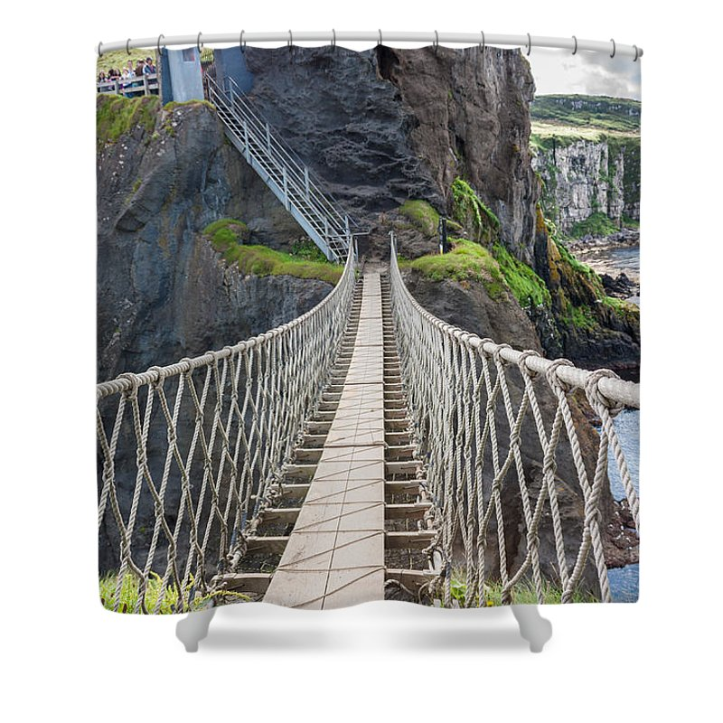 Bridge Shower Curtain featuring the photograph Rope Bridge At Carrick-a-rede In Northern Island by Semmick Photo