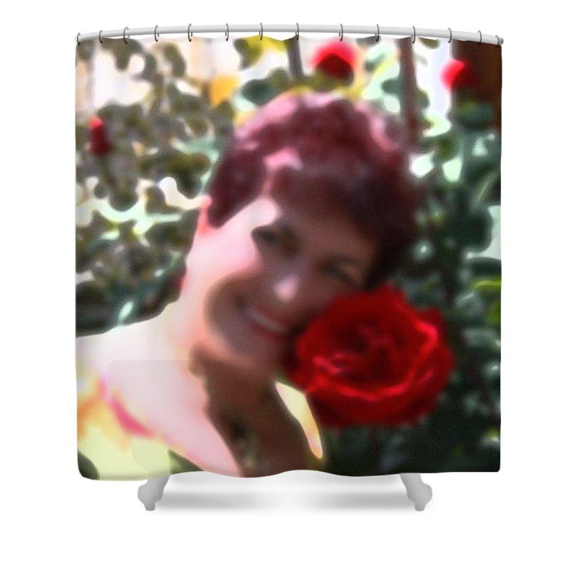 Augusta Stylianou Shower Curtain featuring the digital art Rose Love by Augusta Stylianou