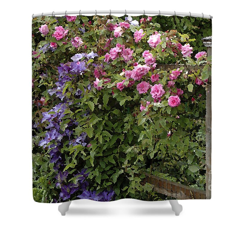 Photo Shower Curtain featuring the photograph Roses On The Fence by Mike Nellums