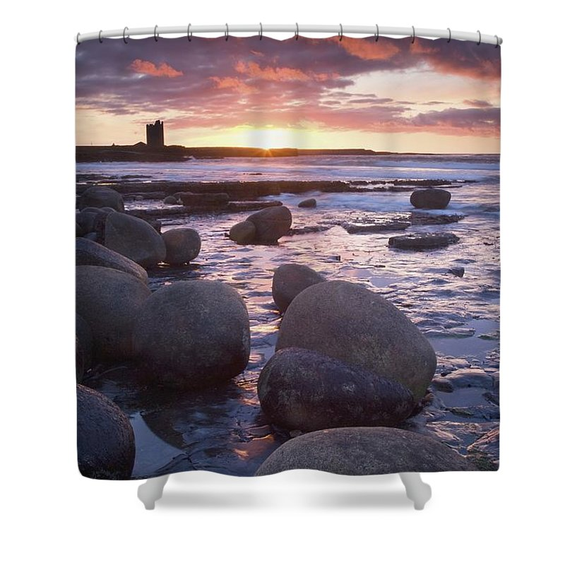 Atlantic Ocean Shower Curtain featuring the photograph Roslee Castle, Easky, County Sligo by Gareth McCormack